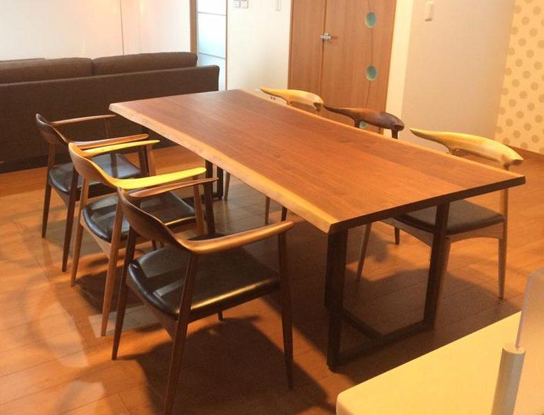ブラックウォールナット 剥ぎ板 + Chair A-4/A-5